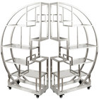 """Eastern Tabletop AC1790 72 1/2"""" x 13 3/4"""" x 72"""" Cartwheel Stainless Steel Rolling Buffet Set with Clear Acrylic Shelves"""