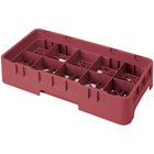 Cambro 10HS800416 Cranberry Camrack 10 Compartment 8 1/2 inch Half Size Glass Rack