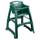 Rubbermaid FG781408DGRN Green Sturdy Chair Restaurant High Chair without Wheels (Ready to Assemble)
