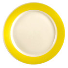 CAC R-21YLW Rainbow Dinner Plate 12 inch - Yellow - 12 / Case