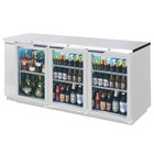 Beverage Air BB72GY-1-S-WINE 72 inch SS Back Bar Wine Series Refrigerator - Narrow Depth, 3 Glass Doors