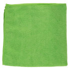 16 inch x 16 inch Green Microfiber Cleaning Cloth - 12 / Pack
