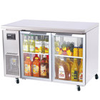 Turbo Air JUR-48-G 48 inch J Series Two Glass Door Undercounter Refrigerator with Side Mounted Compressor