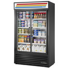 True TVM-48SL-HC~SW01 48 inch Black Slim Line Glass Door Refrigerated Visual Merchandiser