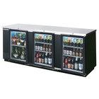 Beverage Air BB94G-1-BK-LED-WINE 94 inch Black Back Bar Wine Series Refrigerator - 3 Glass Doors