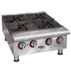 APW Wyott HHPS-424 Heavy Duty 4 Burner Stepped Countertop 24 inch Range / Hot Plate - 120,000 BTU
