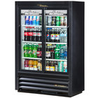 True GDM-33SSL-54-LD Black Narrow Depth Sliding Glass Door Convenience Store Merchandiser Refrigerator - Low Profile 11 Cu. Ft.