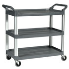 Rubbermaid FG409100GRAY 300 lb. X-Tra Three Shelf Utility Cart / Bus Cart 40 inch x 20 inch x 37 inch