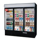 Beverage Air LV72Y-1-B LumaVue 75 inch Three Section Glass Door Black Merchandising Refrigerator - 72 Cu. Ft.
