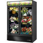True GDM-49FC-HC~TSL01 Black Glass Door 2 Section Floral Case - 49 Cu. Ft.