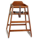 Tablecraft 66A Stacking Hardwood High Chair with Walnut Finish - Assembled