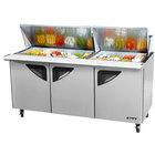 Turbo Air TST-72SD-30 72 inch Super Deluxe Stainless Steel Mega Top Refrigerated Sandwich / Salad Prep Table with Three Doors and Deluxe Shelving