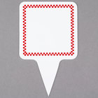 Square Write On Deli Sign Spear with Red Checkered Border