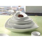 CAC SHA-T7 Sushia 12 oz. Super White Triangular Porcelain Bowl - 36/Case