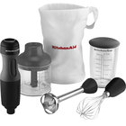 KitchenAid KHB2351OB Onyx Black 3 Speed Hand Blender with 8 inch Shaft, Jar, and Whisk Attachment