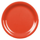 6 1/2 inch Orange Narrow Rim Melamine Plate - 12/Pack
