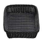 Tablecraft M2493 Black Rectangular Rattan Basket 19 inch x 14 inch x 4 inch - 6 / Pack