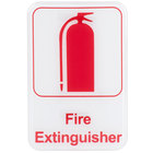 Fire Extinguisher Sign - Red and White, 9 inch x 6 inch