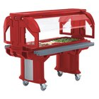 Cambro VBRLHD6158 Hot Red 6' Versa Food / Salad Bar with Heavy Duty Casters - Low Height