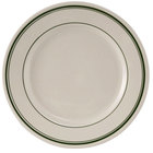 Tuxton TGB-008 9 inch Wide Rim Rolled Edge Green Bay China Plate 24/Case