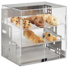 "Cal-Mil 1621-55 Squared Three Tier Stainless Steel Display Case with Front Doors - 15"" x 13"" x 19"""