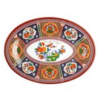 Thunder Group 2016TP Peacock 16 inch x 11 5/8 inch Oval Melamine Platter - 12/Pack