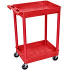 Luxor / H. Wilson RDSTC11RD Red 2 Tub Utility Cart - 18 inch x 24 inch x 37 1/2 inch