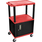 Luxor WT2642RC2E-B Red Tuffy Two Shelf Adjustable Height A/V Cart with Locking Cabinet - 18 inch x 24 inch