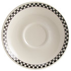 Homer Laughlin Black Checkers 6 inch Creamy White / Off White China Boston Saucer 36 / Case