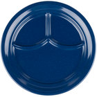Carlisle 4351435 Dallas Ware 9 3/4 inch Cafe Blue Melamine 3-Compartment Plate - 36/Case