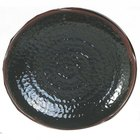 Tenmoku Black 14 inch Lotus Shaped Melamine Plate - 12/Pack