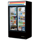 True GDM-37-HC-LD Black Refrigerated Sliding Glass Door Merchandiser with LED Lighting - 37 Cu. Ft.