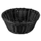 Tablecraft M2475 Black Round Rattan Basket 8 1/4 inch x 3 1/4 inch