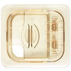 Cambro 60HPLN150 H-Pan 1/6 Size Amber High Heat FlipLid with Spoon Notch
