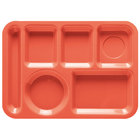 GET TL-152 10 inch x 14 inch Rio Orange ABS Plastic Left Hand 6 Compartment Tray - 12/Pack