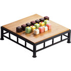 Cal-Mil 1711-3-60 Iron Black Square Riser with Bamboo Top - 12