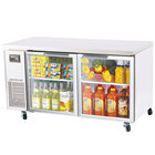 Turbo Air JUR-60-G 60 inch J Series Two Glass Door Undercounter Refrigerator with Side Mounted Compressor