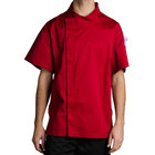 Chef Revival J020TM-M Cool Crew Fresh Size 42 (M) Tomato Red Customizable Chef Jacket with Short Sleeves and Hidden Snap Buttons - Poly-Cotton