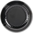 Fineline Silver Splendor 510-BKS 10 inch Black Plastic Plate with Silver Bands - 12/Pack