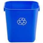 Continental 1358-1 13.6 Qt. Blue Rectangular Recycling Wastebasket