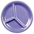 10 1/4 inch Purple 3-Compartment Melamine Plate - 12/Pack