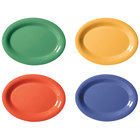 GET OP-120-MIX Diamond Mardi Gras 12 inch x 9 inch Oval Melamine Platter, Assorted Colors - 12/Case