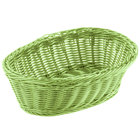 Tablecraft HM1174GN Green Oval Rattan Basket 9 1/4 inch x 6 1/4 inch x 3 1/4 inch 6/Pack