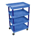 Luxor / H. Wilson BUTC1111BU Blue 4 Tub Utility Cart - 24 inch x 32 inch x 44 1/2 inch