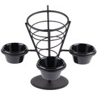 American Metalcraft FBC93 Black Wrought Iron Wire Fry Basket with 3 Ramekin Holders - 5 inch x 9 inch