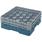 Cambro 16S534414 Camrack 6 1/8 inch High Teal 16 Compartment Glass Rack