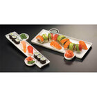 American Metalcraft Prestige PORS140 13 inch x 9 5/16 inch Porcelain Tray with Built-In Sauce Cups