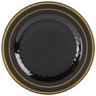 Fineline Silver Splendor 506-BKG 6 inch Black Plastic Plate with Gold Bands - 150/Case