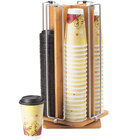Cal-Mil 1468 Bamboo Revolving Cup / Lid Organizer - 9 inch x 9 inch x 18 1/2 inch
