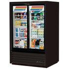 True GDM-33CPT-54-LD Black Sliding Glass Door Narrow Depth Convenience Store Merchandiser Refrigerator - Pass-Through Low Profile 15 Cu. Ft.